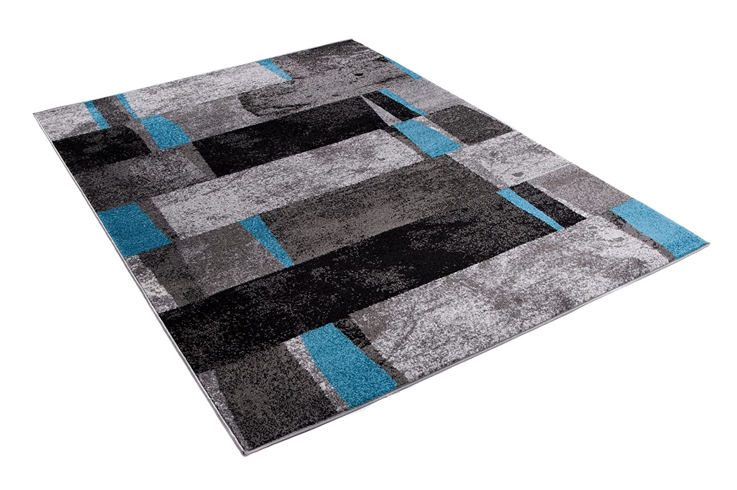 Jawa Collection Size 2ft7 x 4ft11 Tapiso Area Rugs For Living Room Bedroom Grey Blue Modern Contemporary Pattern Durable Carpet Trendy Interior 80 x 150 cm