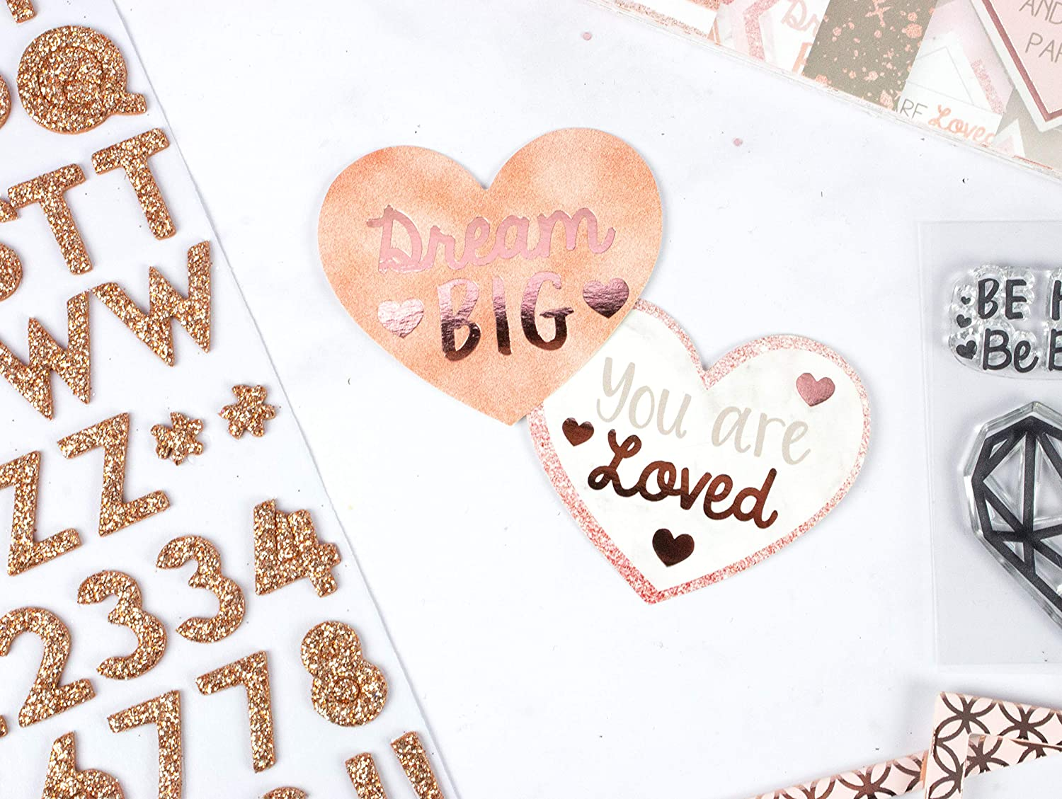 Rose Gold Dovecraft Premium Happy You FSC 12x12 Paper Pad 12x12 Pad-36 Stationery 12x12 3 Sheets of 12 Designs-with Glitter and Foil Effects Certified-for Crafts Journaling