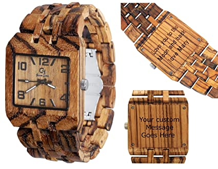 Wooden Watch by Gassen James - Mens style Omega III Zebra Wood