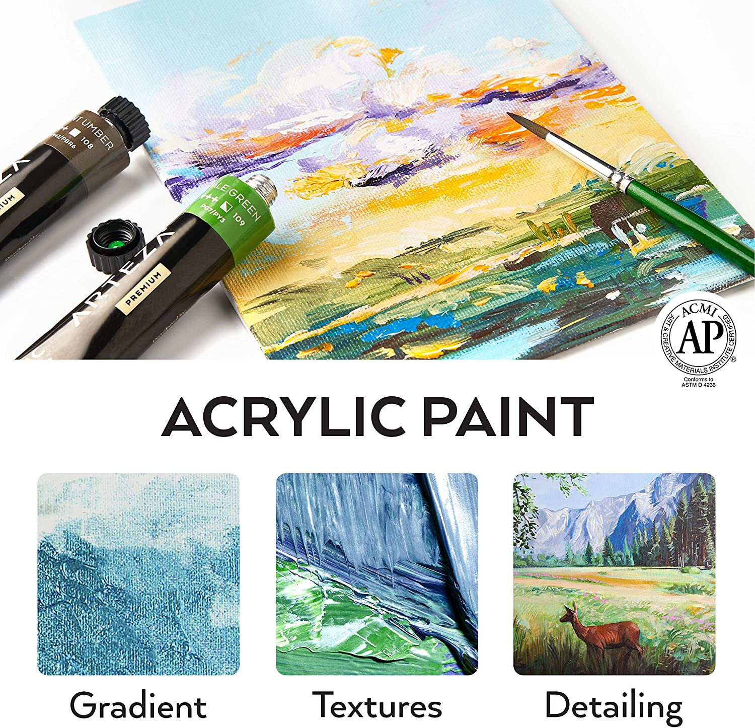 Arteza Acrylic Paint, Set of 24 Colors/Tubes (22 ml/0.74 oz.) with Storage Box, Rich Pigments, Non Fading, Non Toxic Paints for Artist, Hobby Painters & Kids, Ideal for Canvas Painting
