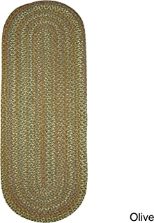product image for Rhody Rug Cozy Cove Indoor/Outdoor Braided Rug Olive 2' x 8' Runner Solid 0.25-0.5 inch Antimicrobial, Stain Resistant 8' Runner Runner, Outdoor,