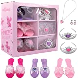 Dress Up America Dress Up Shoes for Little Girls - Princess Dress Up Set Includes Jewelry and 3 Pairs of Princess Shoes, 2 Tiaras, Earrings and Necklace, Little Girl and Toddler Role-Play Gift Set
