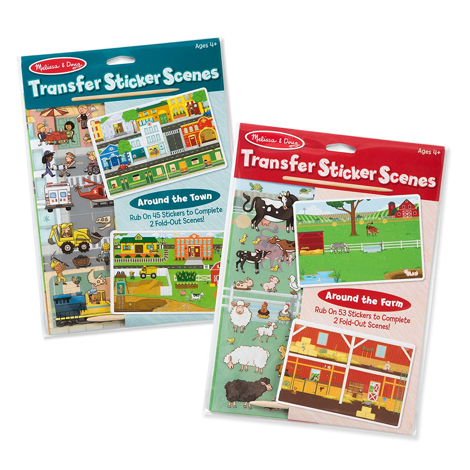 Melissa & Doug Rub-On Transfer Scenes Around the Farm and Town Sticker (2 Pack)