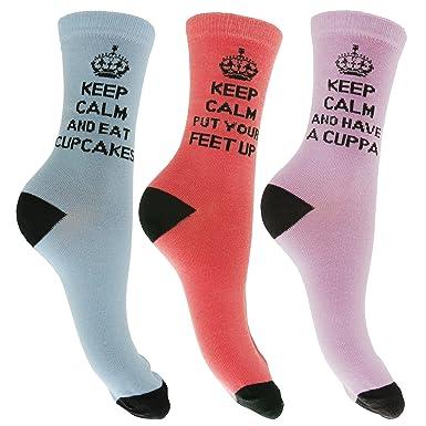 """Calcetines de diferentes colores con mensaje """"Keep Calm"""" para mujer (pack de"""