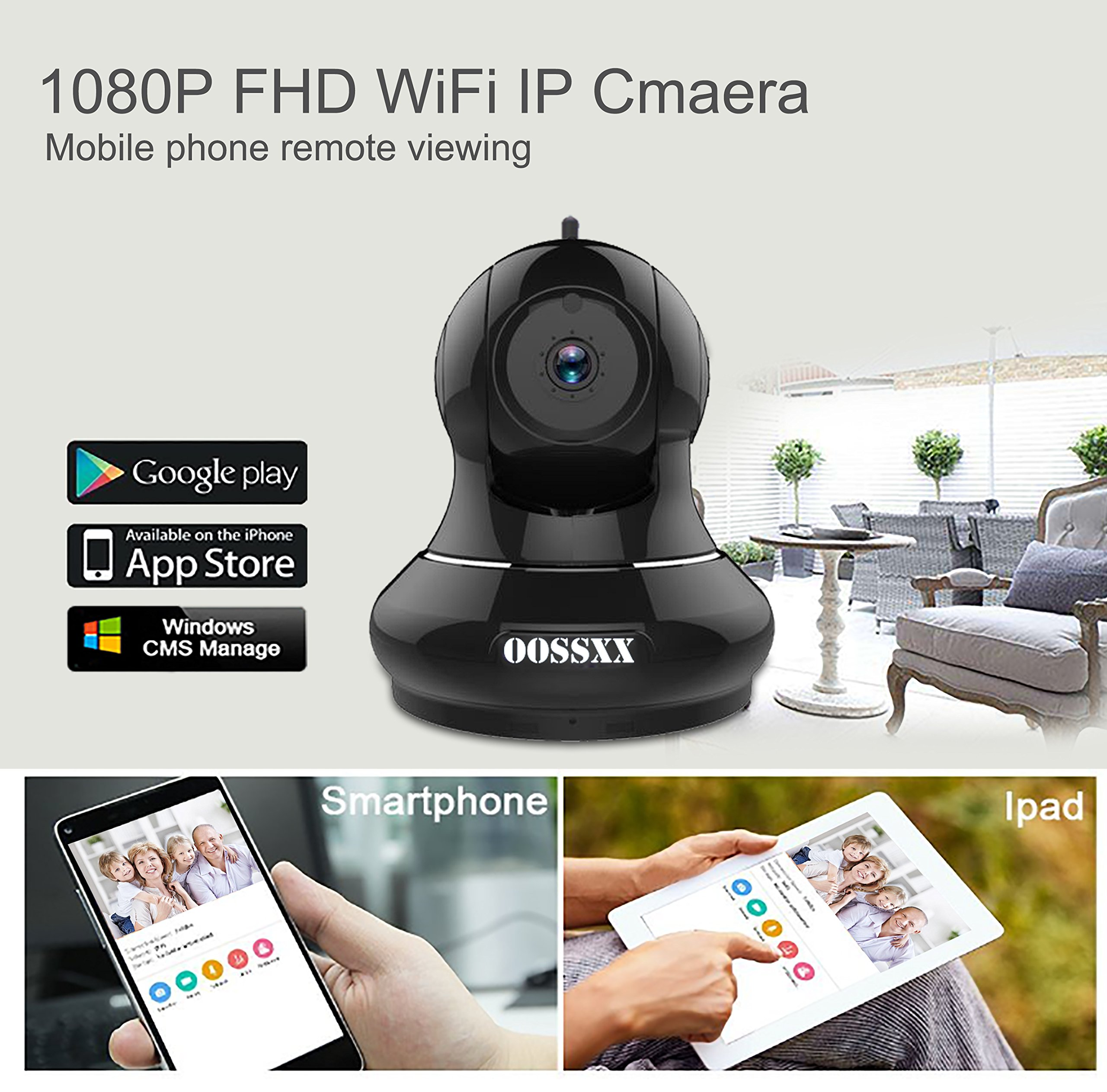 1080P Home/Business Wireless IP Camera, OOSSXX HD Indoor Wireless Security Camera with Motion Detection, Two Way Audio, Pan/Tilt, Night Vision, Multi camera preview,for Baby Monitor, Nanny Cam,Pet Cam by OOSSXX (Image #2)