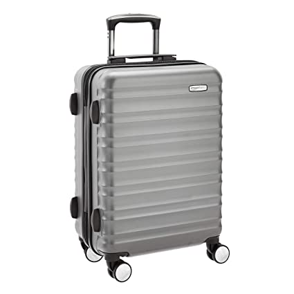 e75c3ab4d AmazonBasics Premium Hardside Spinner Luggage with Built-In TSA Lock - 55  cm, Grey, Approved for most budget airlines: Amazon.co.uk: Luggage