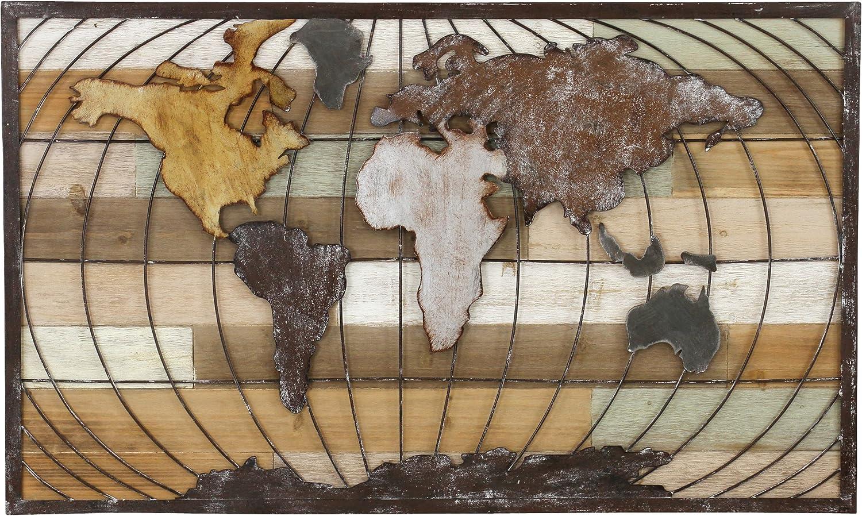 Aspire Décor Marco World Map Wall Decor, Brown