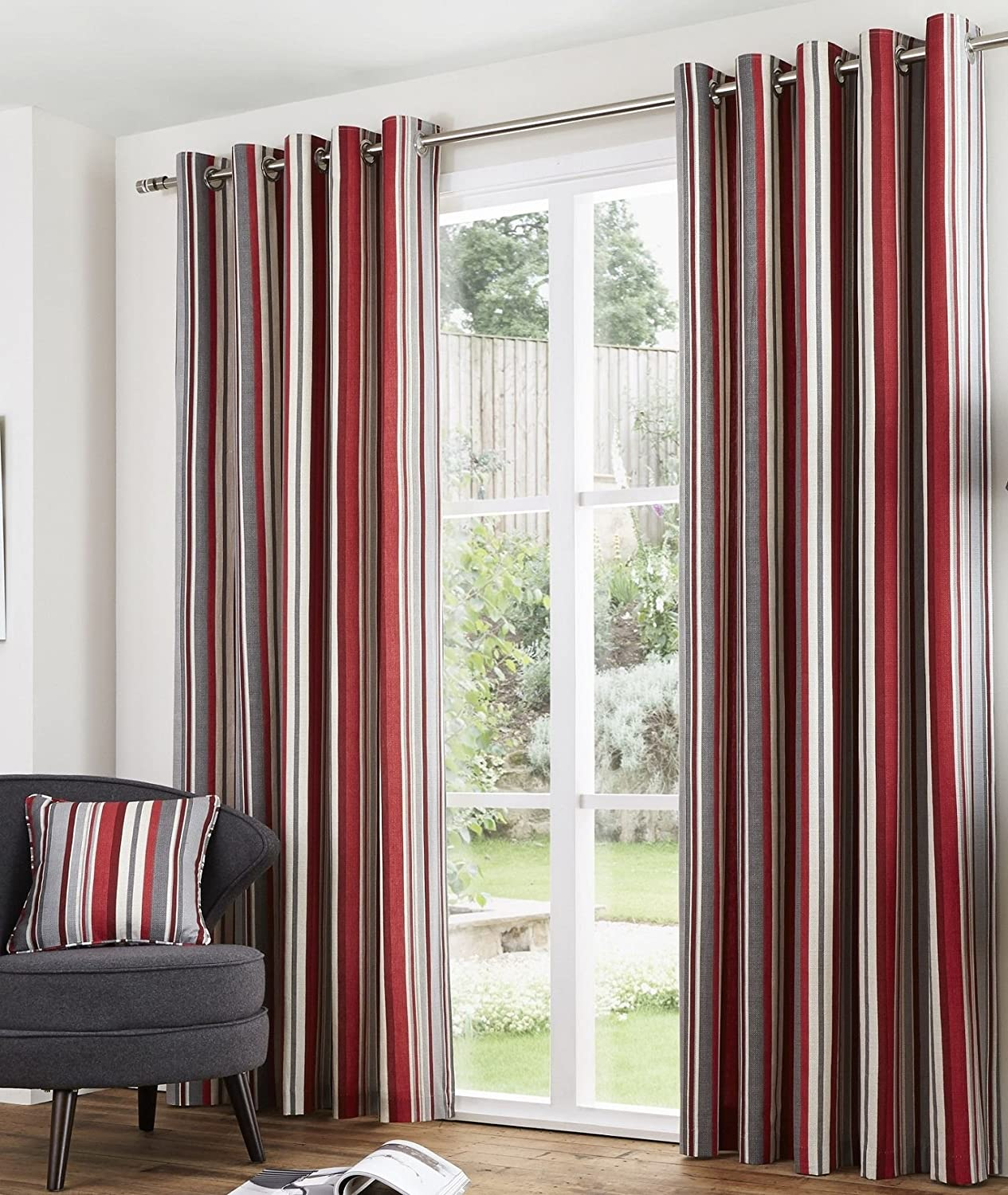 Melody Eyelet Lined Curtains 66 X 54 Stripe Red Burgundy Cream Grey Ready Made Pair Woven Cotton Hallways R Amazoncouk Kitchen Home