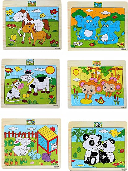 Akrobo 6 Assorted Wooden Puzzles for Kids (6 Pieces)