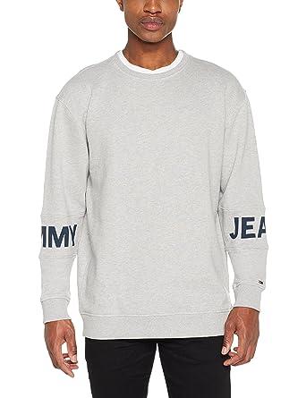 9c2fd1cb Tommy Jeans Men's Essential Banded Logo Crew Short Sleeve Sweatshirt: Amazon .co.uk: Clothing