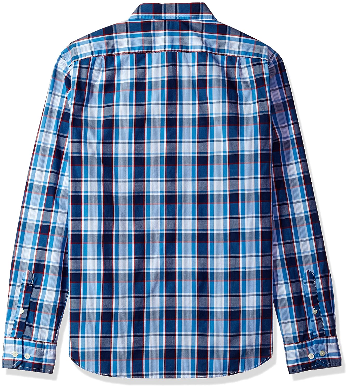 Nautica Mens Long Sleeve Large Plaid Button Down Shirt