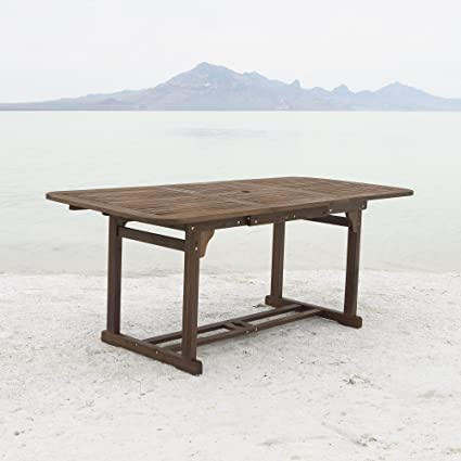 Beau WE Furniture Solid Acacia Wood Patio Extendable Dining Table
