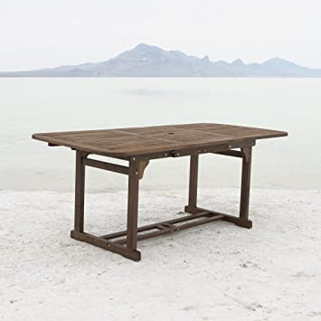 WE Furniture Solid Acacia Wood Patio Extendable Dining Table. Amazon com   WE Furniture Solid Acacia Wood Patio Extendable