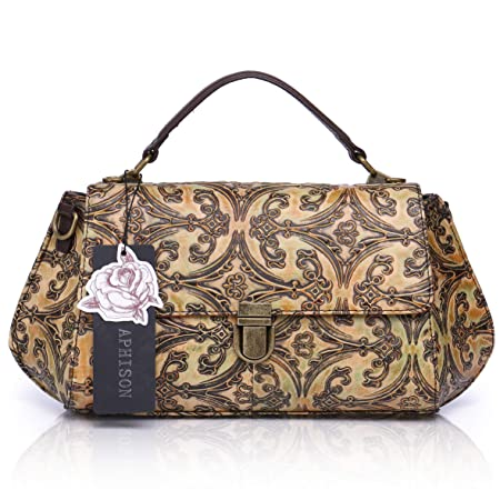 APHISONUK Designer Unique Embossed Floral Cowhide Leather Vintage Style  Women s Handbag (Brown)  Amazon.co.uk  Luggage 5641255138ac7