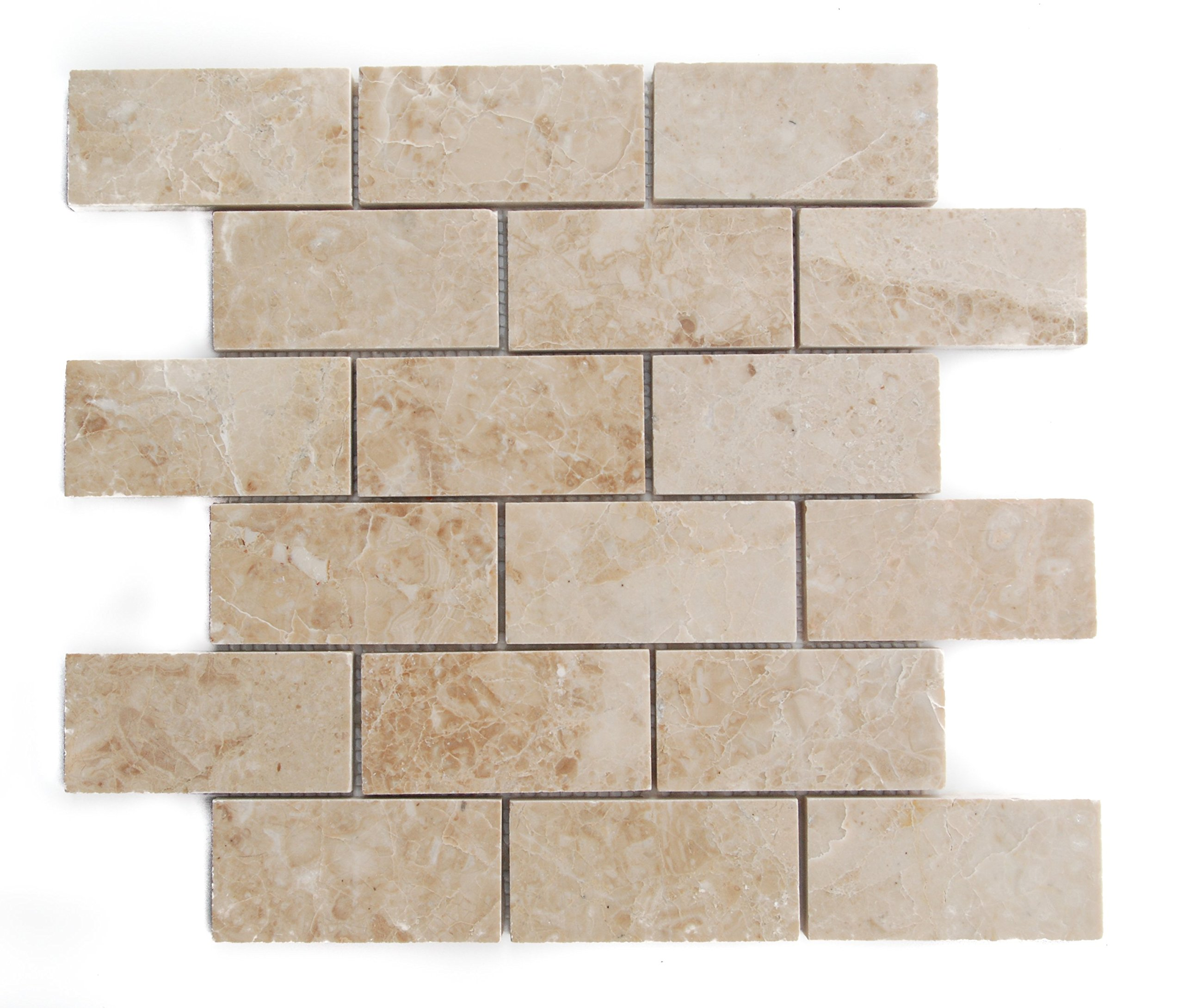 Crema Cappuccino Marble 2 X 4 Brick Polished Mosaic Tiles - Premium Quality (LOT of 5 SHEETS)