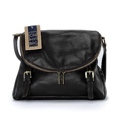 11ddb37564 OH MY BAG Sac à main en cuir souple Pearl marron fonce: Amazon.fr ...