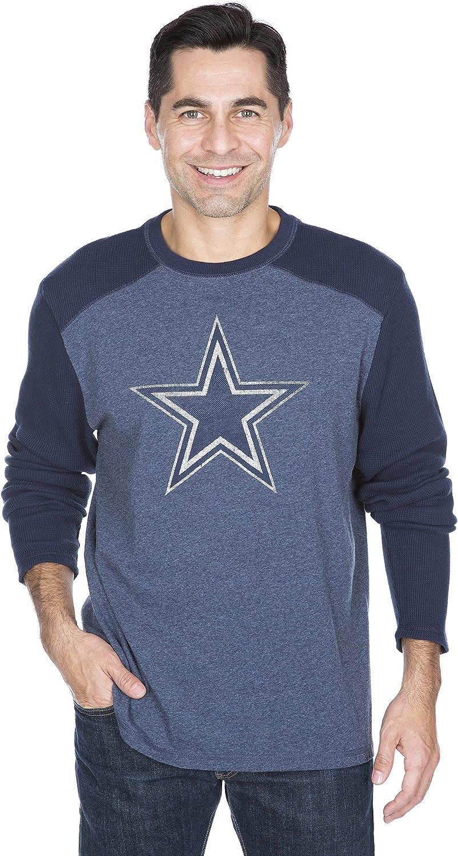 Dallas Cowboys Long Sleeve Knit Shirt Reggie Waffle-Camiseta de Punto de Manga Larga, Hombre