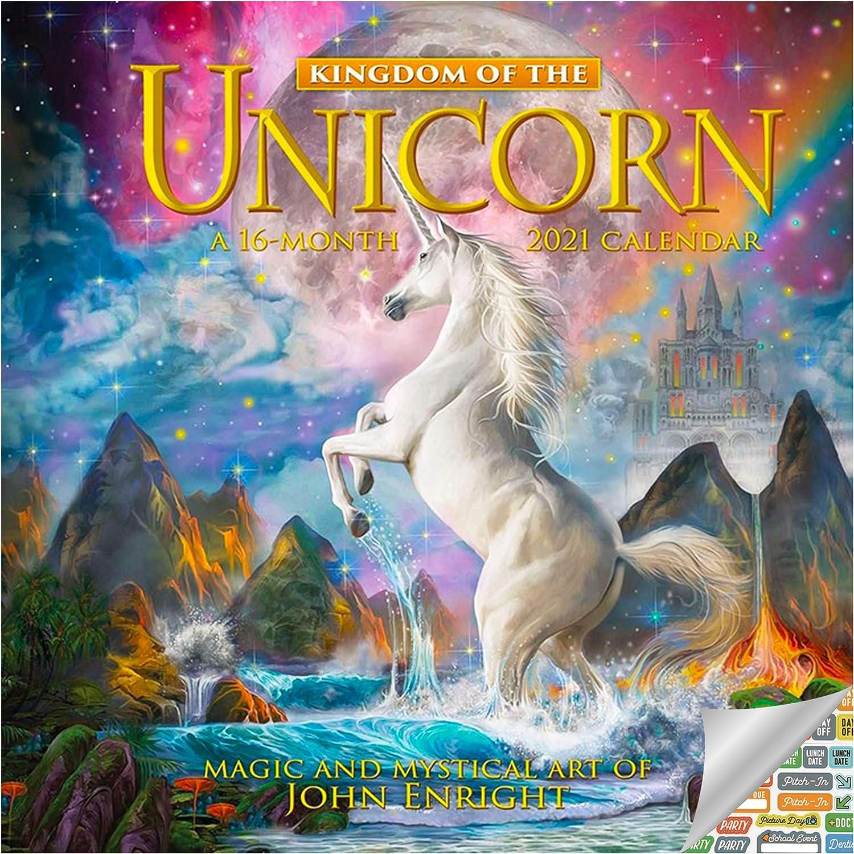 Unicorn Calendar 2021 Set - Deluxe 2021 Unicorns Wall Calendar with Over 100 Calendar Stickers (John Enright Gifts, Office Supplies)