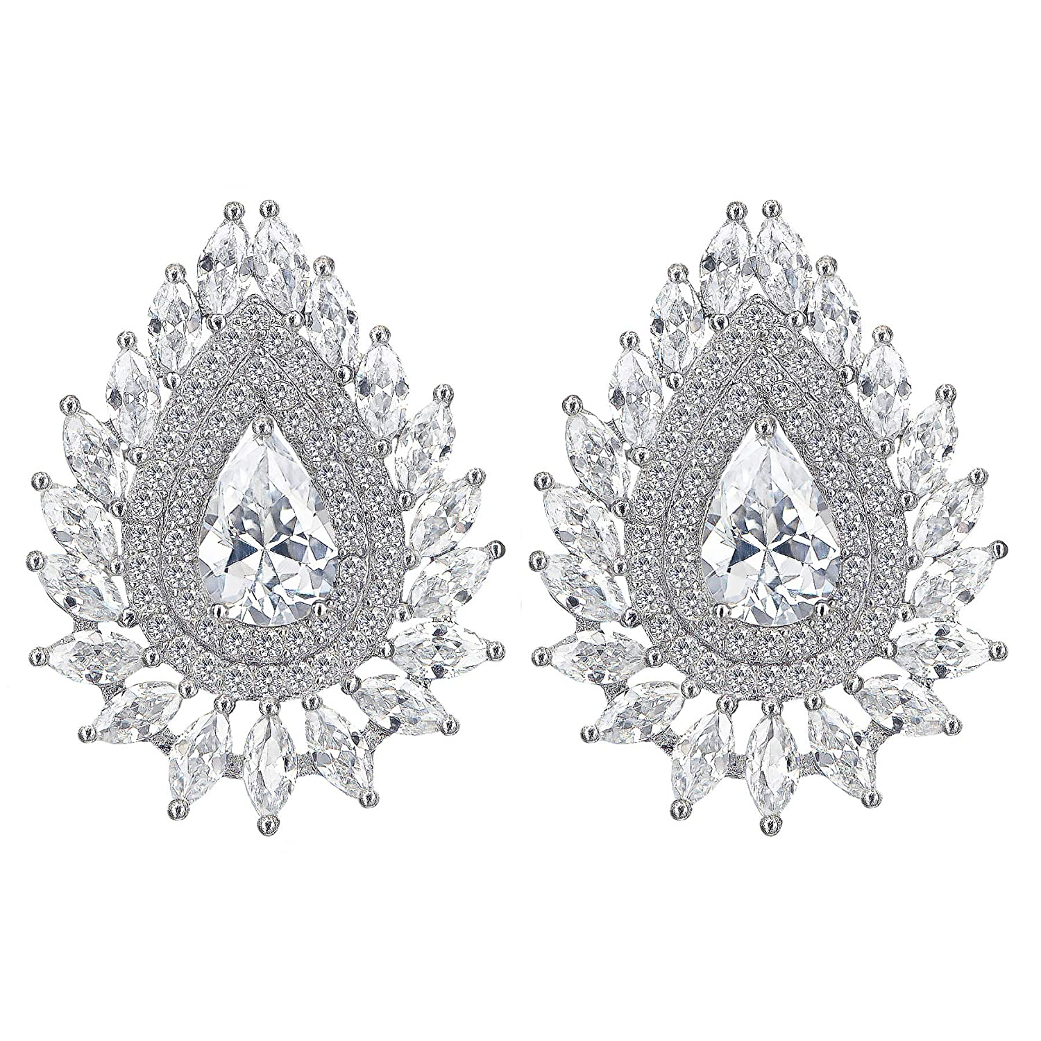 fa50d35d2 Full of high clarity AAAAA cubic zirconia (CZ) gems, these cluster earrings  sparkle with diamond-like shine from all angles. Every single CZ stone is  the ...