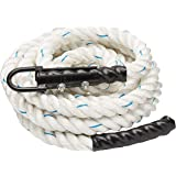 Crown Sporting Goods 1.5 Polydac Gym Climbing Rope, White - Fitness Equipment with Carabiner Eyehook for Physical…