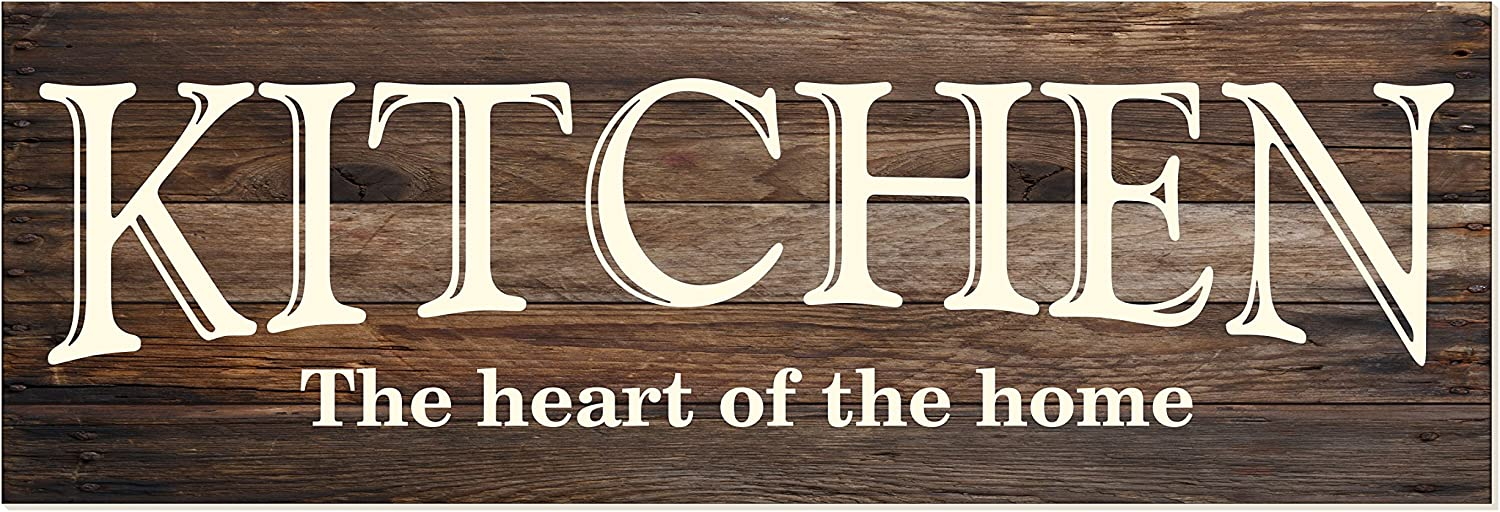 Amazon Com Kitchen The Heart Of Home Rustic Wood Wall Sign 6x18 Brown