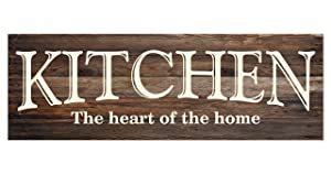 Kitchen The Heart of The Home Rustic Wood Wall Sign 6x18 (Brown)
