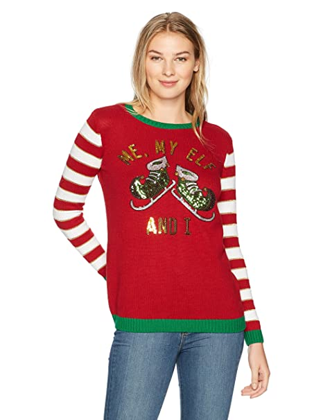 Ugly Christmas Sweater Company Suéter para Mujer Me My Elf and I ... 1ea7c143f633