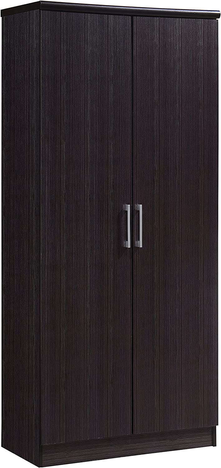 Hodedah 2 Door Wardrobe with Adjustable/Removable Shelves & Hanging Rod, Chocolate