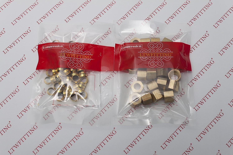 LTWFITTING 5//16 Brass Compression Sleeves Ferrule with 5//16 Compression Nut Pack of 75 Brass Compression Fitting