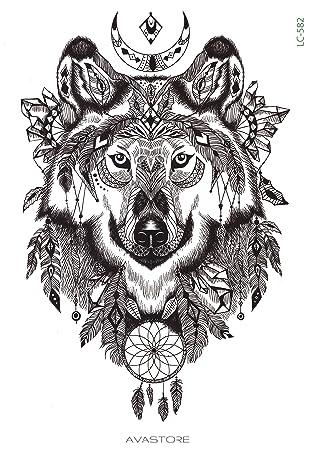 Tatuaje Temporal Lobo – Tatuaje efímero lobo – avastore: Amazon.es ...