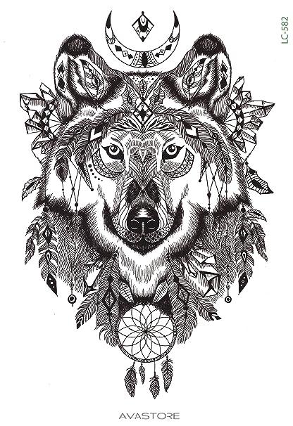 Tatouage Temporaire Loup Tatouage Ephemere Loup Avastore Amazon