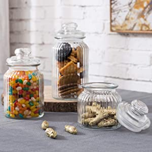 MyGift 22oz / 32oz / 44oz Vintage Ribbed Glass Apothecary Food Storage Jars, Canisters with Airtight Lids, Set of 3