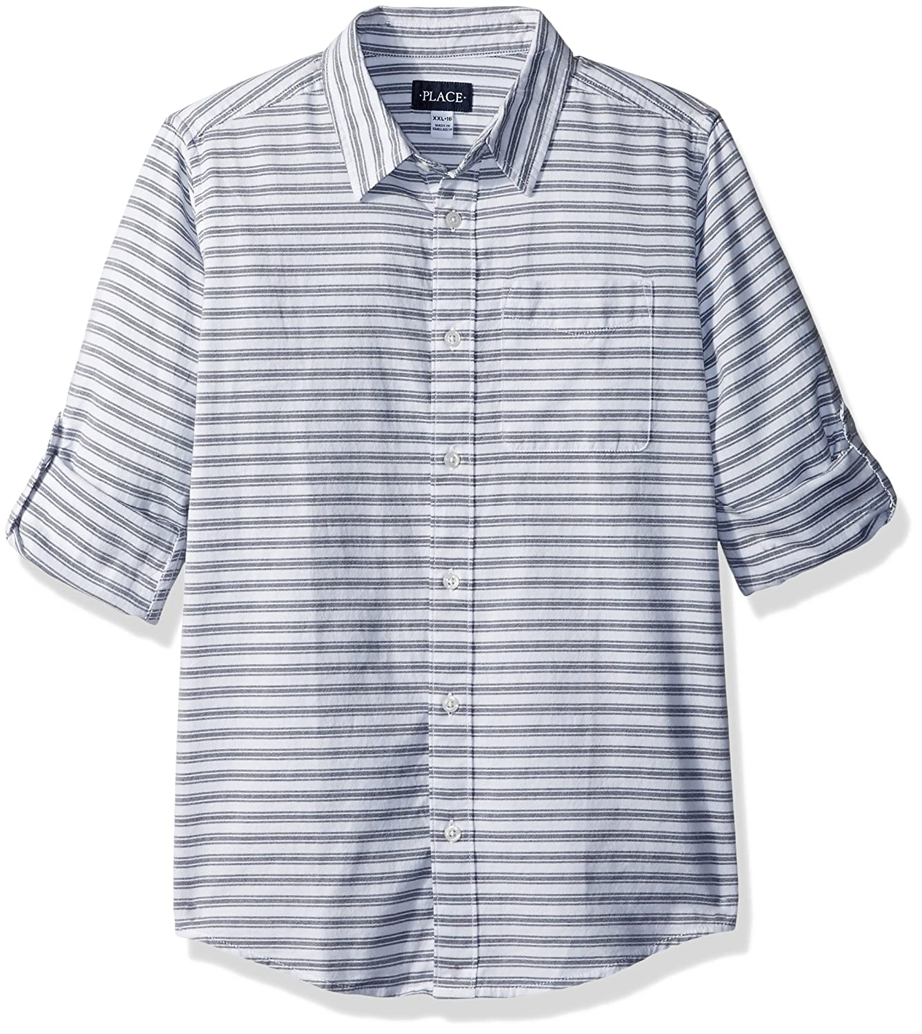 The Children's Place Boys' Big Striped Double-roll Shirt 2084122