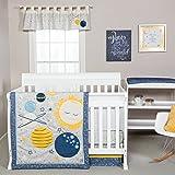 Trend Lab Galaxy 3 Piece Crib Bedding Set, Blue/Gray/Yellow