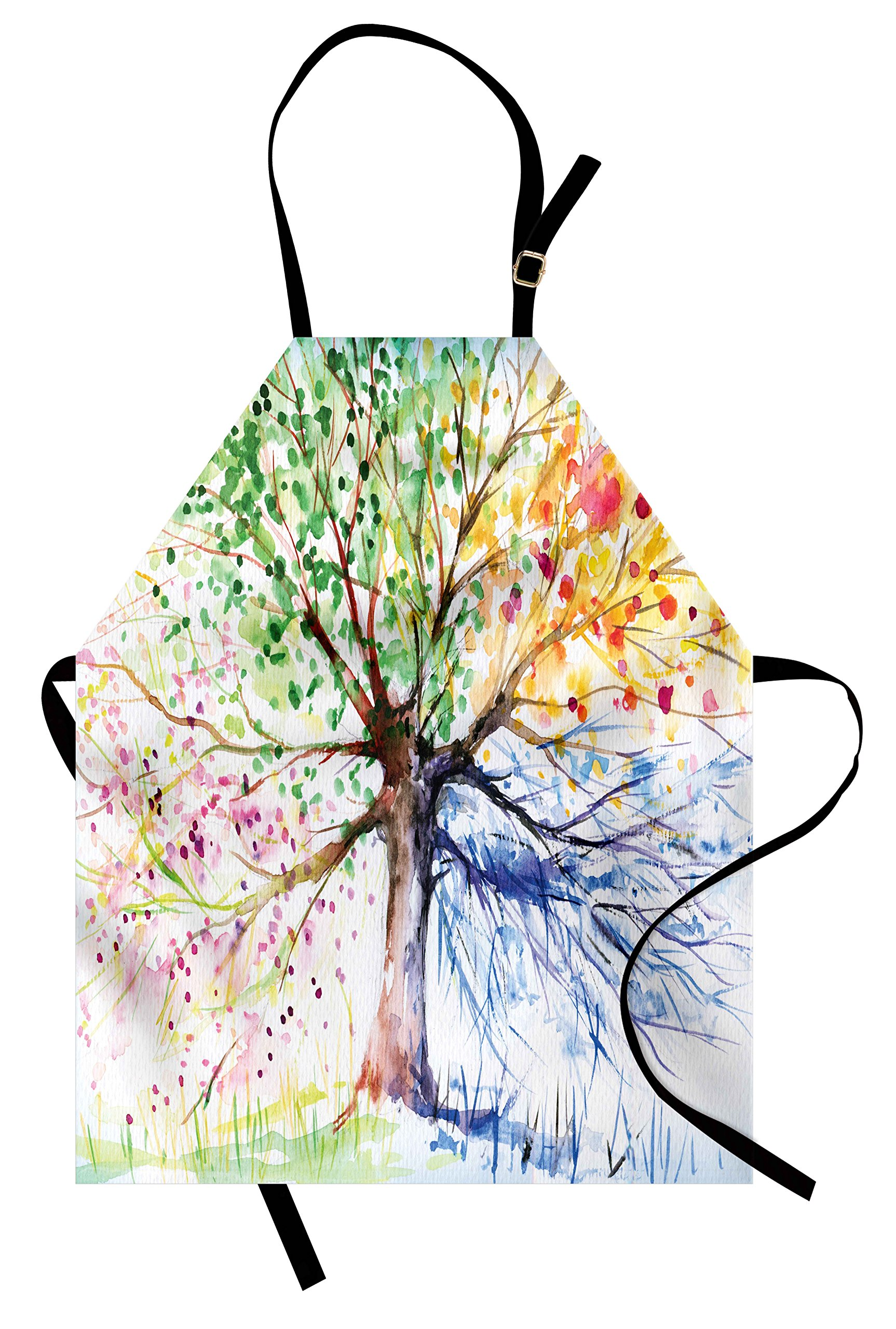 Ambesonne Tree Apron, Watercolor Style Artistic Tree with Colorful Blooming Branches Four Seasons Theme, Unisex Kitchen Bib Apron with Adjustable Neck for Cooking Baking Gardening, Multicolor