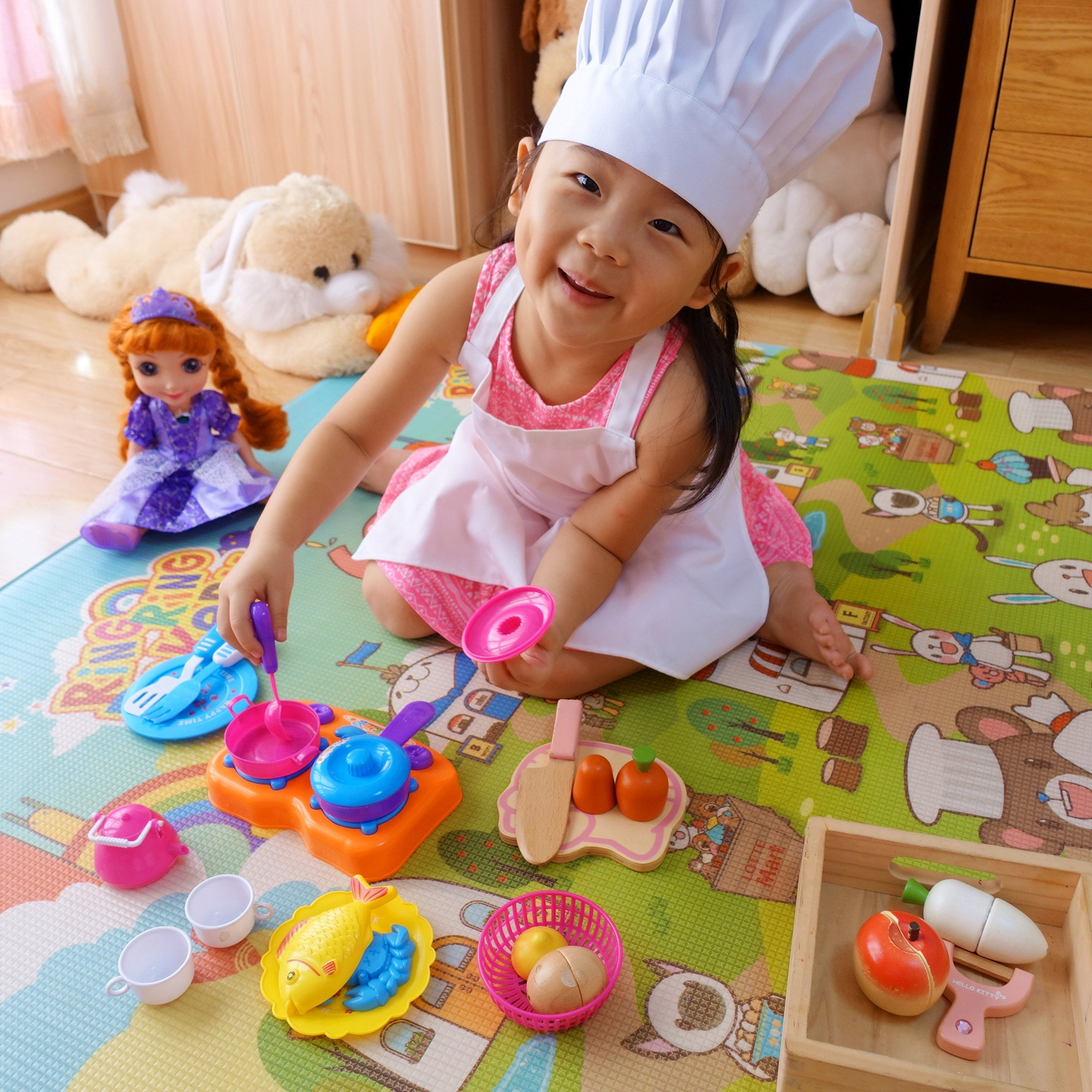2 Pc-White kids'chef apron and hat set for cooking,baking,painting or decorating party (1-3Years) by MULAN (Image #6)