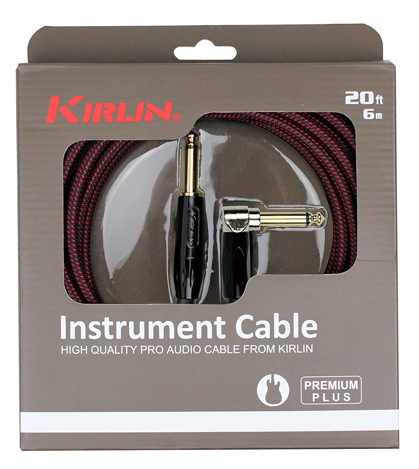 Black//Red Woven Jacket KIRLIN Cable IWB-202BFGL-10//BR 10-Feet Premium Plus Instrument Cable