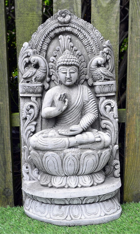 Onefold – Grande Buddha Wall Plaque – a Mano in Pietra Ornamento da Giardino Plaque Statua