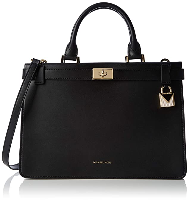 Michael Kors Tatiana Medium Leather Satchel Borse a secchiello Donna, Nero (Black), 11.4x22.9x32.4 cm (B x HT)