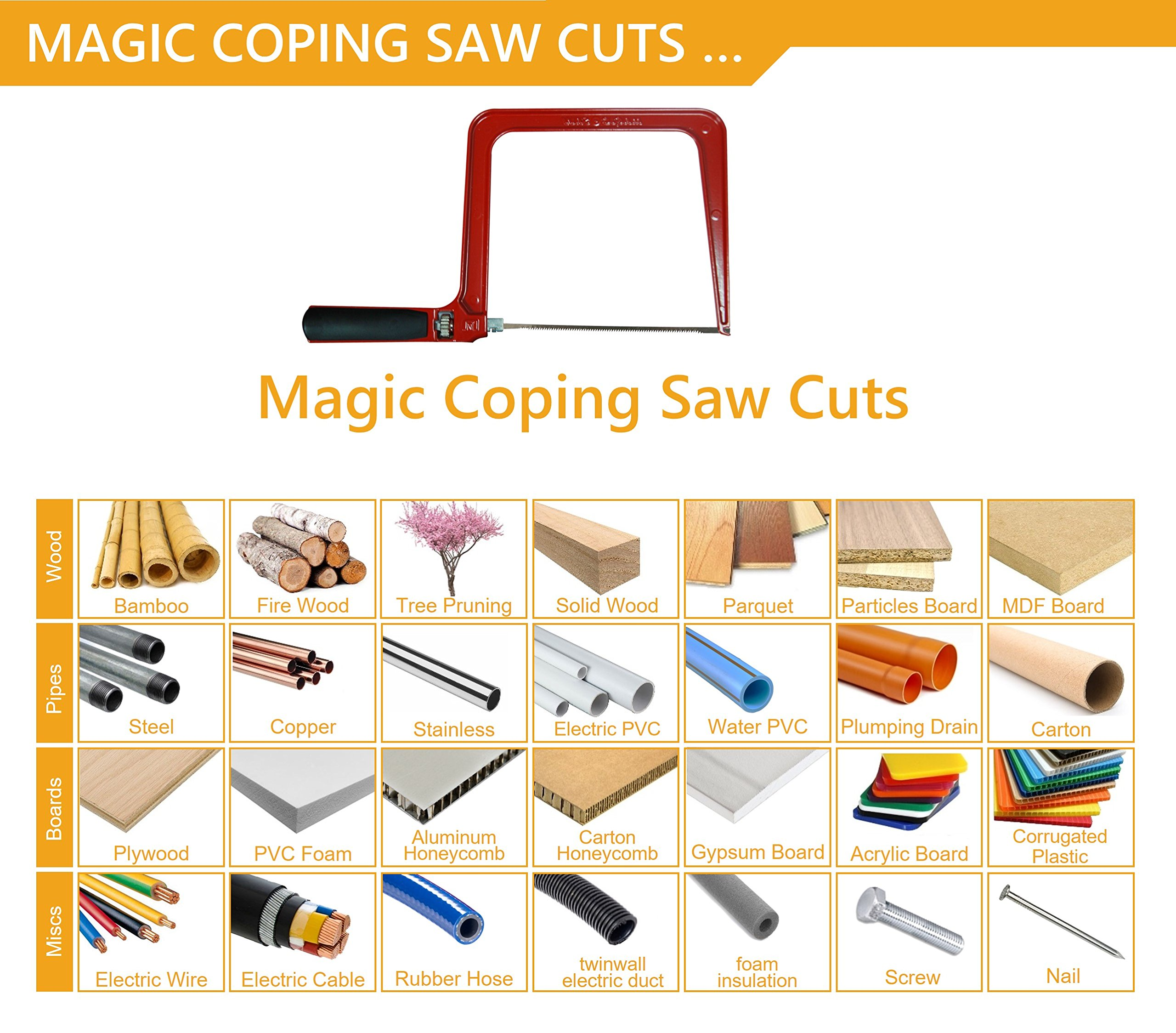Original Magic Coping Saw with 6 inch High Carbon Steel Pins Blades, a Heavy Duty H shape Metal Frame Works as Fret Saw, Hacksaw, and Pruning Saw & Suitable to Cut Wood, Plastic, PVC, Aluminum, Nails by Amazing Tools (Image #5)
