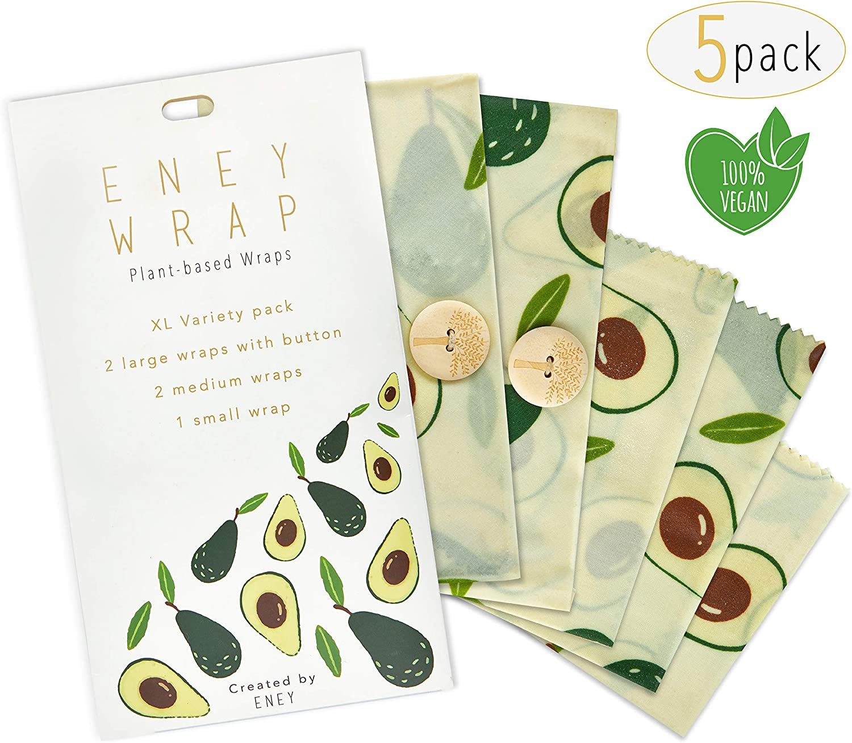 ENEY Premium Organic Plant Wax Reusable Food Wrap | No Beeswax | Avocado Print | Set Of 5 Eco-Friendly Vegan Wrap Alternative | Extra Large Set | 2 Large Wraps, 2 Medium Wraps, 1 Small Wrap