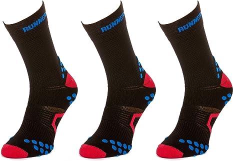 Doppelbund Trail Funktionssocken Fitness Langlauf Runner 3D Laufsocken Filmar Factory/® 3X Set Antibakteriell Marathon Flachn/ähte Jogging