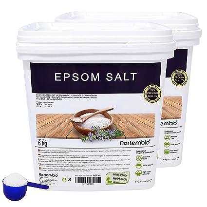 NortemBio Sal de Epsom 2x6 Kg, Fuente concentrada de Magnesio, Sales 100% Naturales