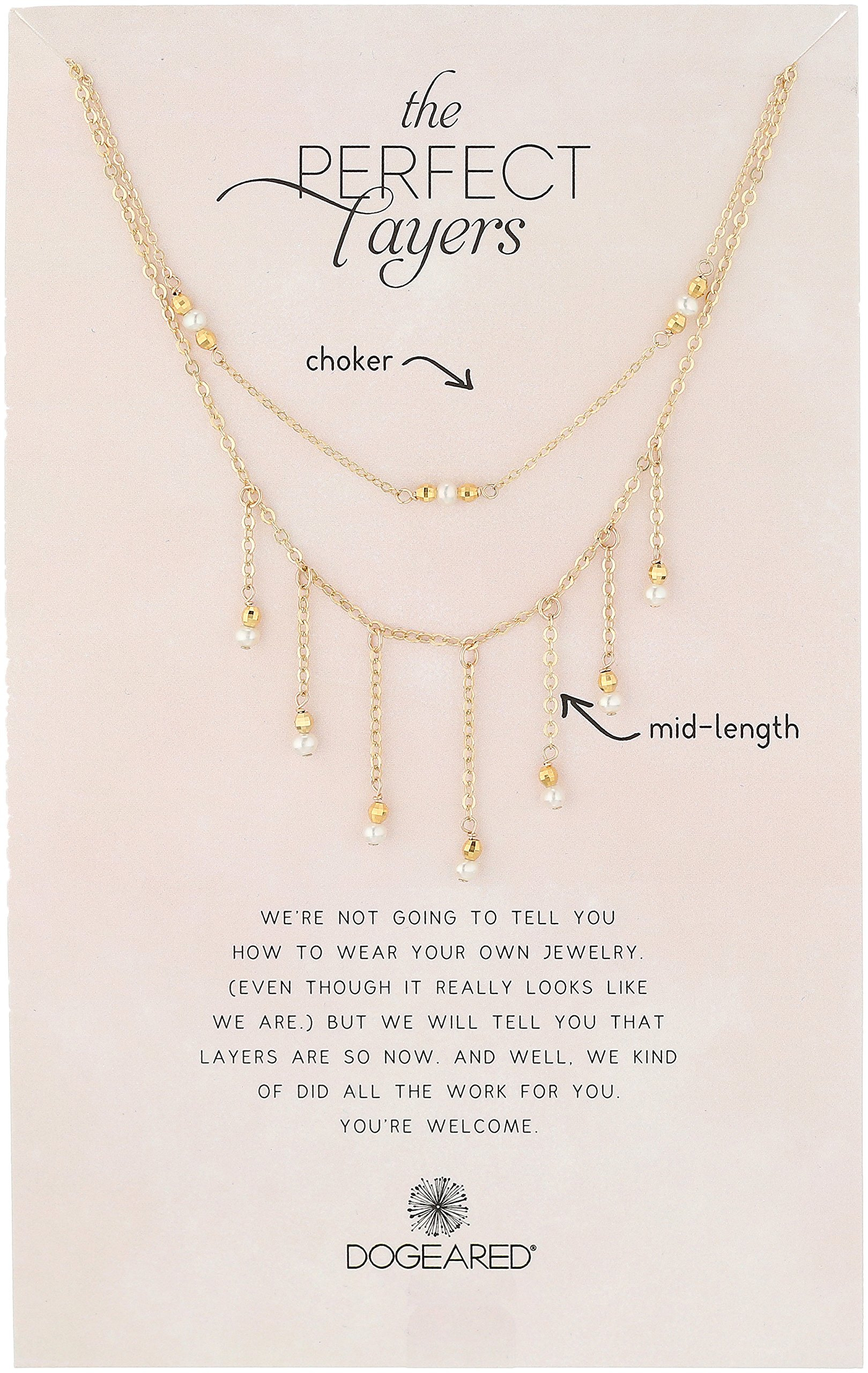 Dogeared Perfect Layer, Set of 2, Sparkle with Pearls Gold Chain Necklace