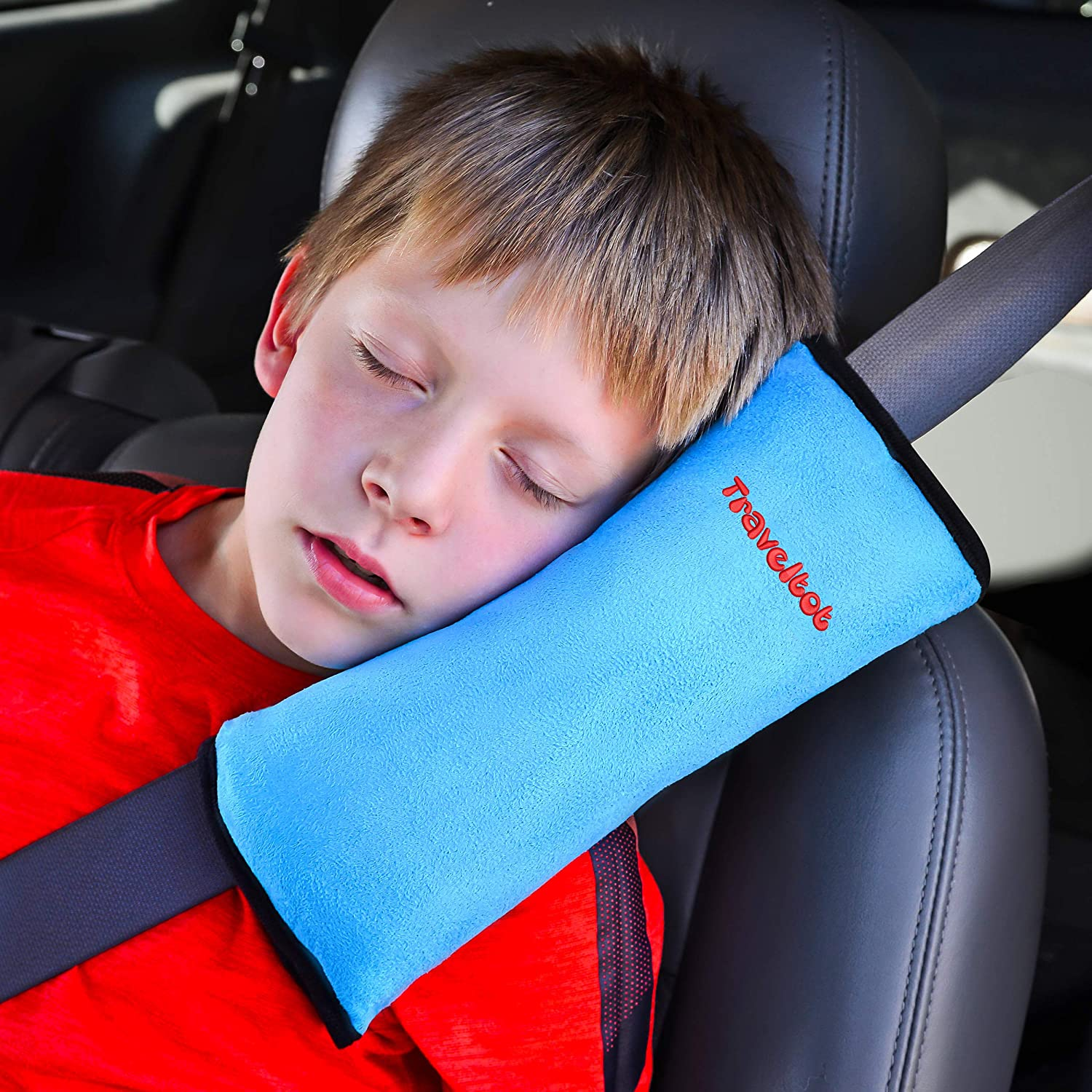 TRAVELTOT Premium Seatbelt Pillow - Comfy Travel Pillow for Your Baby & Toddler – Universal Car Cushion with Head & Neck Support for Kids & Adults – Best Skin Friendly Seat Belt Cover with Strap