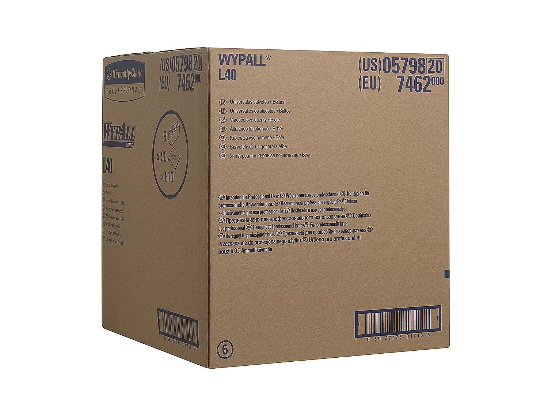 la confezione contiene 9 rotoli codice prodotto 7462 Panni Airflex* WYPALL* L40 in box pop-up 90 fogli per box colore bianco