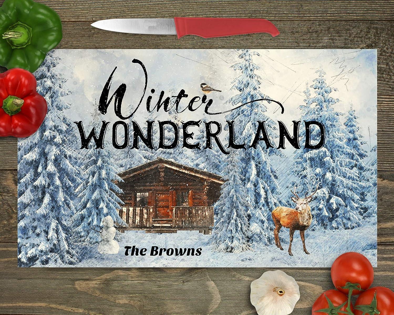 Christmas Kitchen FREE SHIPPING Custom Cutting Board Winter Wonderland Glass Cutting Board Personalized Name Cutting Board Couples Gift