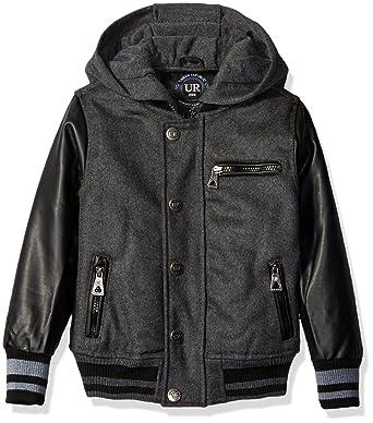 b15c610223a0 Amazon.com  Urban Republic Boys  Wool Varsity Coat with Faux Leather ...