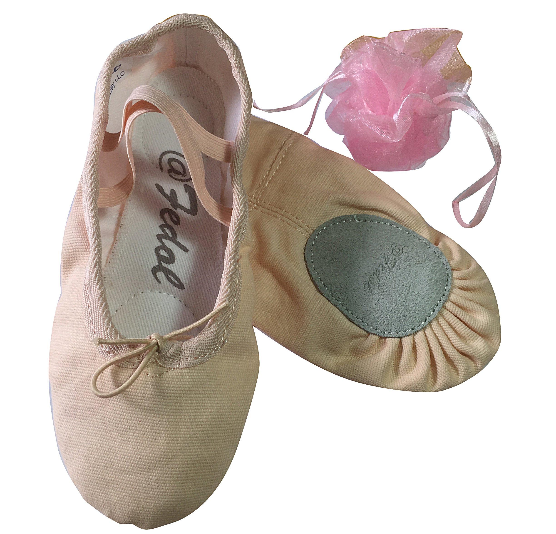 Girl Pink Canvas split-sole Ballet Slippers -Little kid 12 M