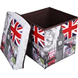 """Folding Storage Ottoman, Foldable Non-woven Fabrics Cube Footrest Seat with Organizer for Coffee Table Camping Fishing Stool 12""""x12""""x12"""" Paris"""